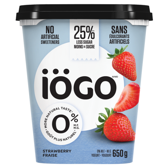iogo yogourt 0% aux fraises 650g