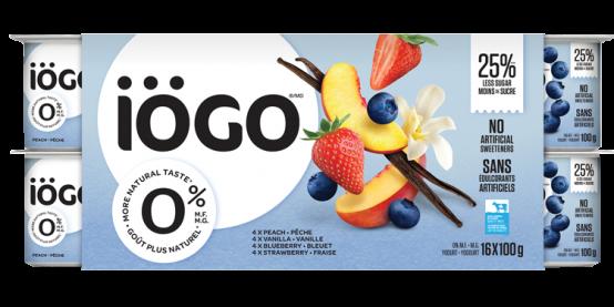 Yogourt iögo 0% Fraise, Bleuet, Pêche, Vanille
