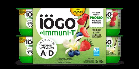 iögo yogourt Immuni-T Sans lactose - Fraise, Framboise, Bleuet, Vanille - 12x100g