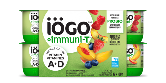 iögo ImmuniT yogurt Strawberry-Raspberry-Blueberry-Peach-Mango 12x100g