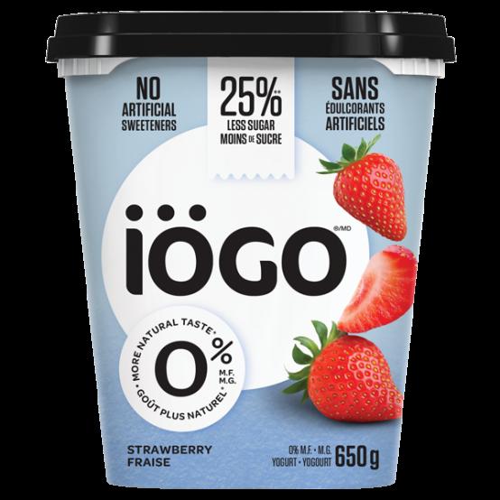 iogo 0% strawberry yogourt tub