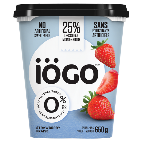 iogo 0% strawberry yogourt tub