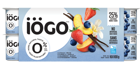 iögo 0% yogurt - Stawberry, blueberry, peach, vanilla