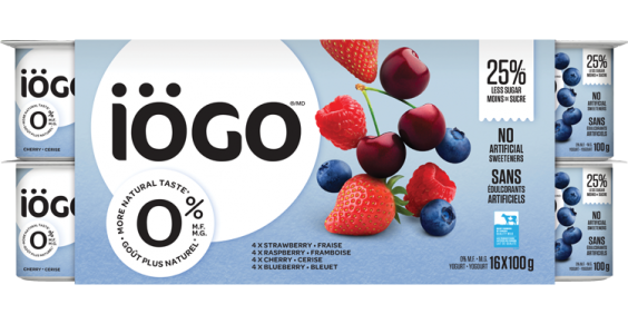 iögo 0% yogurt Strawberry, Raspberry, Cherry, Blueberry