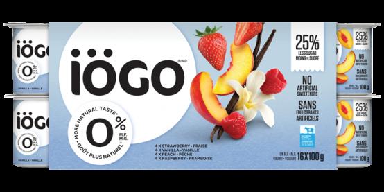 iogo 0% raspberry, strawberry, Peach, Vanilla yogurt