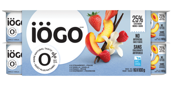 iogo 0% raspberry, strawberry, Peach, Vanilla yogurt