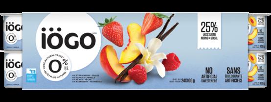 iögo 0% yogurt Strawberry, Raspberry, Peach, Vanilla