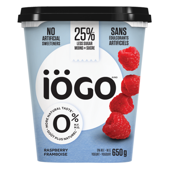 iogo 0% raspberry yogurt 650g